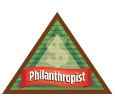 "Girl Scout Brownie Philanthropist Badge. Girl Scouts make the world a better place. One way to do that is to make sure everyone's basic needs are met. In this badge, you'll explore basic human needs and how you can be a ""philanthropist"" -- a person who gives to people who need help!"