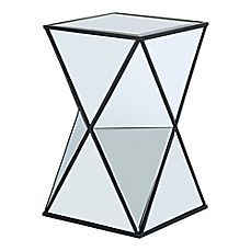 image of Glam Angular Mirror Accent Side Table