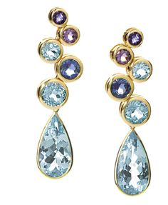 Cassandra Goad | Cirkel pendant earrings in yellow gold with iolite, amethyst and blue topaz