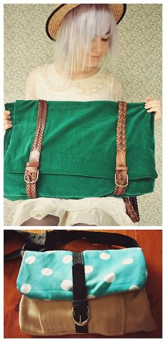DIY Two Satchel Bags Using Thrifted Belts Tutorials from Pineneedle Collective. Top Photo: DIY Double Belt Satchel Backpack Tutorial from Pi...