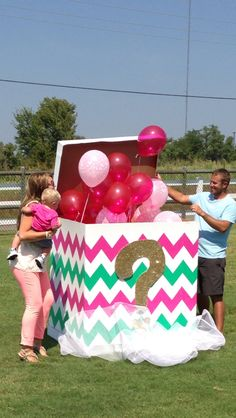 Gender reveal party ideas, pink and mint chevron reveal box, bow or beau, It's a Girl!, pink balloons, box of balloons, chevron