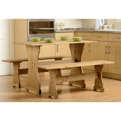 Dining Table Set 2 Benches Pine Wood Wooden Seat Rustic Furniture Rectangular