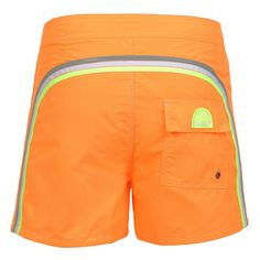 ORANGE MID-LENGHT SWIM SHORTS WITH RAINBOW BANDS Orange Nylon Taffeta low rise Boardshorts. Three rainbow bands on the back. Fixed waistband with adjustable drawstring and Velcro closure. Internal net. Back Velcro pocket with Sundek logo detailing. COMPOSITION: 100% NYLON. Model wears size 32 he is 189 cm tall and weighs 86 Kg.