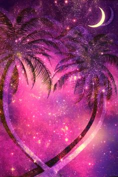 #glitter #sparkle #galaxy #sky #stars #night #palmtrees #tropical #moon #glitch #shimmer #stardust #nature #wallpaper