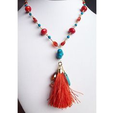 Turquoise and Carnelian Gemstone Tassel Necklace by UrbanGypsyGems.etsy.com colorful, bold, beautiful, boho, bohemian, wire wrap, gold, girly, pretty, perfect