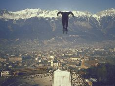Skier Taking Off from the Bergisel Jump Hangs During Innsbruck Winter Olympics Competition Fotoprint