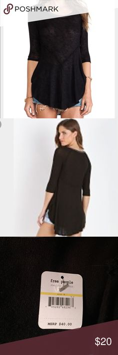 Free People Combo Top Great looking top! This lightweight sheer top that flows at the bottom is a great layering piece. The color is black with gray border on neck. Free People Tops