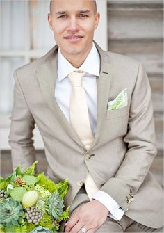 Love the color and pattern of this suit for groom