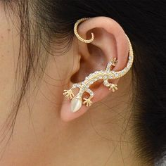 Czech Drilling Four Feet Snakes Lizards Ear Clip Alloy Gold Plated