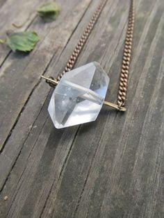 Herkimer Diamond Necklace Large Raw Quartz by daniellerosebean, $38.00