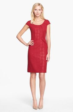SMOB rehearsal dinner dress?  Adrianna Papell Embossed Crepe Peplum Sheath Dress available at #Nordstrom