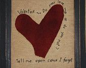 Primitive Valentines Day E PATTERN Folk Art Stitched Sampler OFG Team Wool Applique