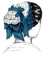 Victorian Hat An 1857 headdress of Valenciennes lace and ribbon points, arranged for dinner or evening dress