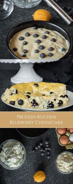 Gesunder Käsekuchen mit Blaubeeren. Proteinreich, kohlenhydratarm und perfekt für jede Diät und zum Abnehmen. Lecker!