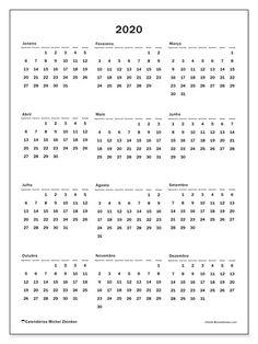 Calendário de  de 2020 (33SD). Calendário para o ano para imprimir livre.
