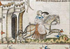 Smithfield decretals. 1300-1340. Woman on horseback.