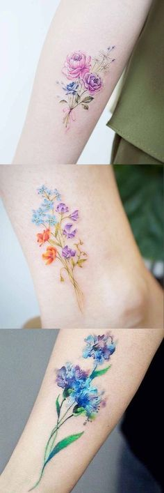 Tattoos: Small Tiny Floral Flower Tattoo Ideas at MyBodiArt. Delicate Flower Tattoo, Small Flower Tattoos, Flower Tattoo Designs, Small Tattoos, Birth Flower Tattoos, Floral Tattoos, Henna Designs, Art Designs, Pretty Tattoos