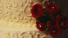 Red roses with diamond centers on the wedding cake.   Film screen shot from the film created by 2ndGenFilms.com Screen Shot, Red Roses, Wedding Cakes, Films, Diamond, Create, Desserts, Wedding Gown Cakes, Movies