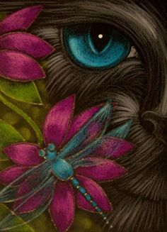 BLACK CAT, DRAGONFLY & FLOWERS 1 - by Cyra R. Cancel from Pretty Cats, Cute Cats, Black Cat Art, Black Cats, Cat Cards, Animal Sketches, Arte Pop, Chalk Pastels, Cat Drawing