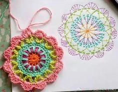 Crochet Coaster Pattern, Crochet Edging Patterns, Crochet Mandala Pattern, Crochet Circles, Christmas Crochet Patterns, Crochet Diagram, Knitting Patterns, Crochet Flower Tutorial, Crochet Instructions