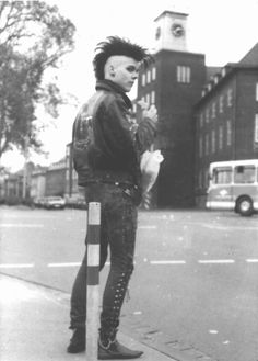 #hot #goth #guy #black #and #white #old #school #OG #mohawk #death #hawk  #darksider #dark #aesthetics #gothic #subculture