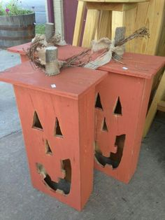 Jack o lanterns made out of old drawers
