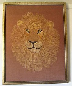Vintage 70s Framed Needlepoint Male Lion Picture Fiber Art