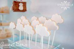 boy hot air balloon themed christening cookie ideas