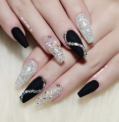 Simple Black Coffin Nail Designs For Winter Holidays To giv., Simple Black Coffin Nail Designs For Winter Holidays To give you inspiration for nail art in this winter, we have specially collected 76 images of black coffin nail designs, I hope you can. Holiday Nail Designs, Black Nail Designs, Winter Nail Designs, Holiday Nails, New Years Nail Designs, Rhinestone Nails, Bling Nails, Gold Nails, Gliter Nails