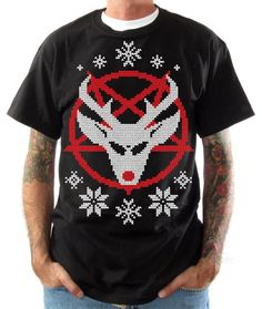 Ugly Christmas Sweater Shirt - Satans Reindeer - X-mas Tee - Funny Christmas Sweater Shirt on Etsy, $14.99