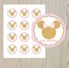 Minnie Mouse pink and gold stickers Minnie by DreamyPartyPrintable