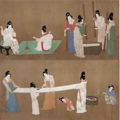 Song Dynasty 宋徽宗赵佶摹《张萱捣练图》