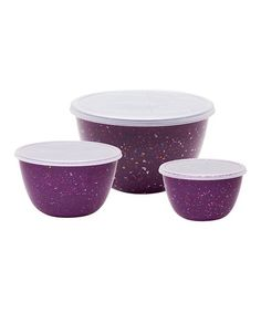 Take a look at this Grape Confetti Covered Bowl Set by Zak Designs on #zulily today! #purple #kitchen