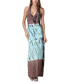 Look at this Mocha & Mint Tie-Dye Cross-Back Maxi Dress on #zulily today!