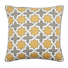 Gray and yellow Moroccan-patterned pillow with a linen texture.  $59.95 at Z Gallerie.
