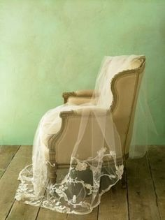 Lace veil. Vintage Chair. Yes.