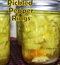 Pickled Pepper Rings - Grab some peppers and make a few jars of these Pickled Peppers. Great for gifts or parties, game nights etc with cold cuts.