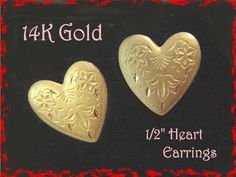 14K Yellow Gold ~ Diamond Cut Satin Heart Pierced Earrings - Wedding Romantic…