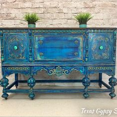 Items similar to SOLD to Heather - RARE Antique Ornate Carved Jacobean Hand Painted French Country Shabby Chic Buffet Sideboard Cabinet on Etsy Style Boho, Gypsy Style, Entryway Furniture, Painted Furniture, Refinished Furniture, Furniture Logo, Metal Furniture, Turquoise Furniture, Western Furniture