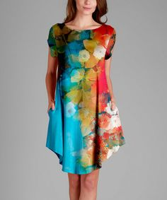 Love this Turquoise Floral Scoop Neck Dress - Plus on #zulily! #zulilyfinds