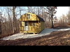 Enterprise Center Finished Lofted Deluxe Barn Cabin - YouTube