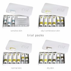 Esse Organic Skincare Trial Packs. Ideal for travel, a gift or to try the Esse range, you will receive a selection of 3 or 6 miniature products. Choose from either the Oily/Combination skin, Sensitive Skin, Dry Skin and Normal Skin.