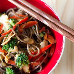 Soba Noodle Stir-Fry with Almond Butter Sauce | Vegetarian Recipes | Brown Eyed Baker