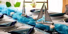 Tischdeko Blau/Türkis