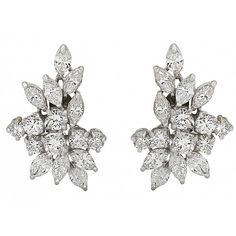 Diamond Cluster Earrings in Platinum ❤ liked on Polyvore featuring jewelry, earrings, platinum jewellery, pre owned jewelry, preowned jewelry, earrings jewelry and platinum jewelry