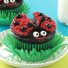 Lady Bug Chocolate Cupcakes Recipe -Who wouldn't smile when they see these fun little treats sitting on the kitchen table? They're as much fun to make as they are to eat! —Taste of Home Test Kitchen