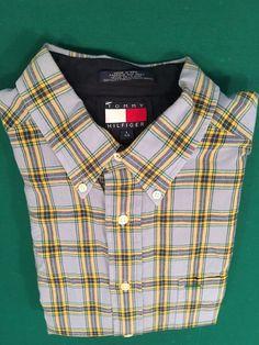 Vintage 1990s Men's TOMMY HILFIGER Plaid Buttoned Long Sleeve Shirt Size L #TommyHilfiger #ButtonFront