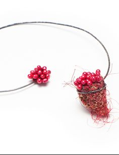 "MYUNG URSO-S KR-  necklace ""Amabile"" Loofah,  freshwater pearls,thread,silk,s silver"