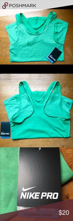 Nike Pro Tank: HyperCool Series This is a Nike Pro Tank from the HyperCool Series. It is in a medium shade of green, with a slightly darker green mesh on the back. It has a fitted silhouette, but is very stretchy. It's great for activities like running and weight training, but it can be used for almost any activity. NEVER WORN! STILL HAS TAGS ON! Nike Tops Tank Tops