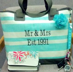 Perfect gift for the newlyweds as they head for the honeymoon! Euro Straw Tote ($55). Add a Free To Be Soft Wallet as shown for the bride for only $28. Shop at: www.mythirtyone.com/shopwithlisab